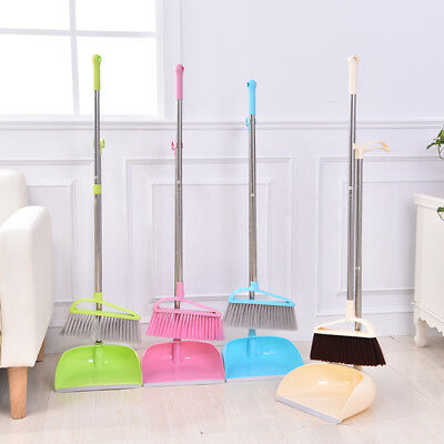 Long Handle Dustpan And Brush Set Kitchen Broom Stick Floor Sweeper Garden Yard