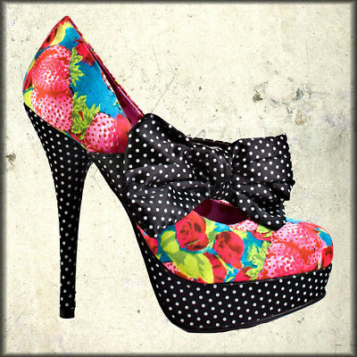 Iron Fist Strawberry Polka Dots Punk Goth Womens Platform Heels Shoes Pink Black
