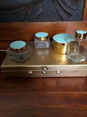 Vintage vanity set in case - jars bottle container mirror - made in england