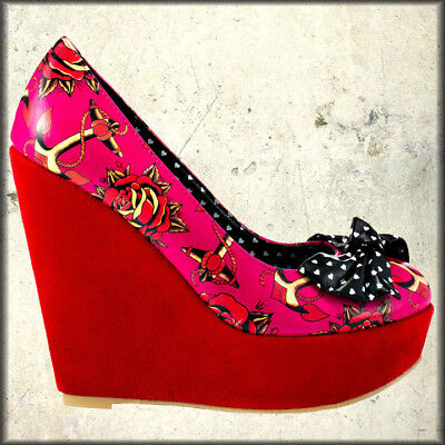 Iron Fist Love Me Anchors Tattoo Punk Goth Pinup Women Platform Wedge Shoes Pink