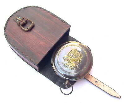 Shiny Brass Sundial Push Button Compass Maritime Vintage Pocket Compass W/ Box A