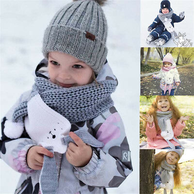 Boys Girls Winter Warm Kids Ball Scarves Neck Warmer Rabbit Ears Knitted Wool ##