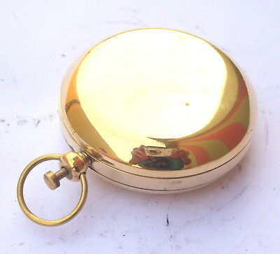 Brass Push Button Nautical Compass Sundial Style Pocket Maritime Working Compass