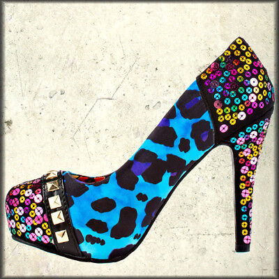 Iron Fist X Marks Studs Sequins Punk Goth Pinup Womens Heels Shoes Blue Leopard