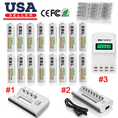EBL 2300mAh AA Rechargeable Batteries Pack + Charger For AA AAA Ni-MH/Cd Battery