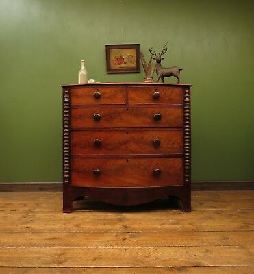 Antique Scottish Chest of Drawers, Handsome Mahogany Bow Chest of Drawers