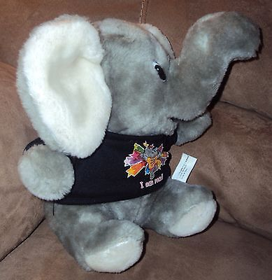 "Elephant sits 9"" VTG 1999 Stuffed Plush I can read shirt Wright Group Literacy"