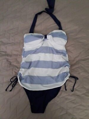 8a6e0b13122e2 NEXT MATERNITY AQUA Blue Tankini Top Swimming Costume Size 10 ...