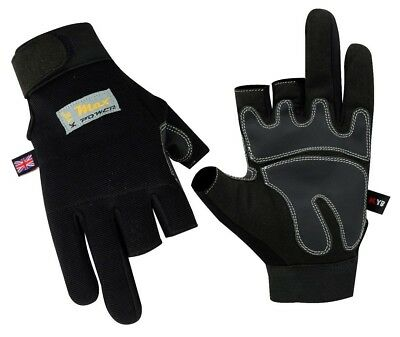 BLACK 3 Half Fingers Cut Carpenter GLOVES Builders Working Mechanics Work Wears
