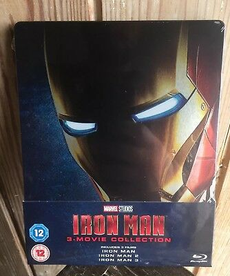 MARVELS IRON MAN 1,2& 3 TRILOGY COLLECTION STEELBOOK ZAVVI UK SOLD OUT In Hand
