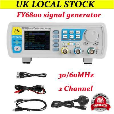 FY6800 30/60MHz Function Arbitrary Waveform Pulse DDS Signal Generator 2 Channel
