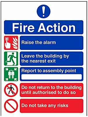 VSafety 12006AN-S Fire Action Sign, General Fire Action/5 Message Risks, ...