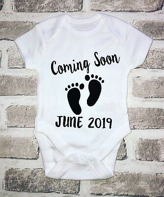 Coming Soon Personalised pregnancy announcement baby vest Baby Shower Gift