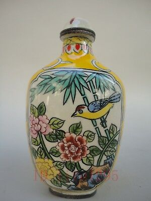Collecting China Copper Cloisonne Snuff Bottle painting Flowers Birds Butterfly