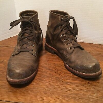 Original Chippewa Made In USA short Lace Boots VINTAGE 9 1/2 -3/4 Work Biker