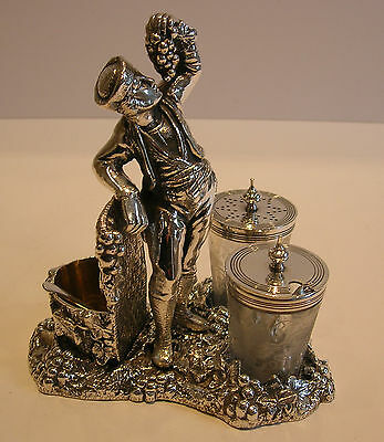 Fabulous Figural Wine Related Cruet Set - Registered 1871 - Silver Plated