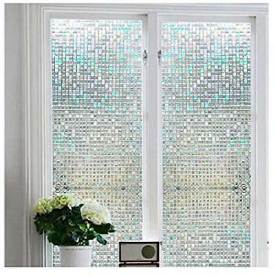 Window Film Non-Adhesive Cling Privacy Stained Glass Heat Control Anti UV NEW US