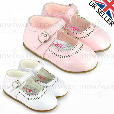 Spanish Shoes Baby Girls Mary Jane Shiny Patent Shoes Buckle White Pink Uk2 Uk7