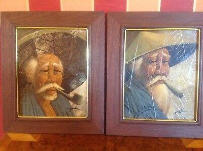 Unusual vintage pair Chinese portrait painting on tobacco leaves signed Gris