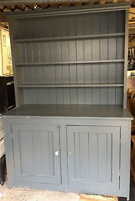 Vintage Solid Pine Farmhouse Dresser, Shabby Chic Painted Grey