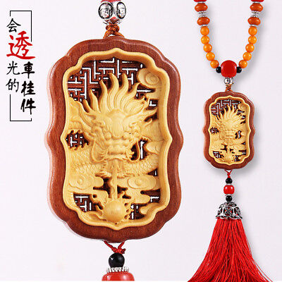 Hollow Out inlay Wood Carving Chinese Dragon Geomancy Sculpture Car Pendant