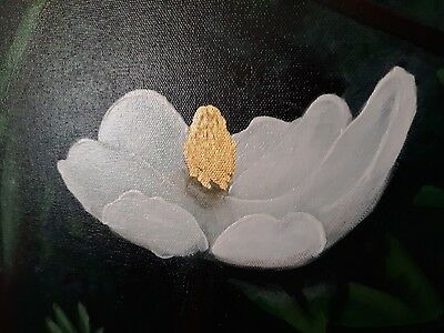 Original art acrylic painting on gallery canvas magnolia gold leaf signed 24x24
