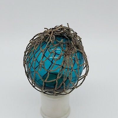 Rare Colored Vintage Glass Fishing Float With Net Japanese?