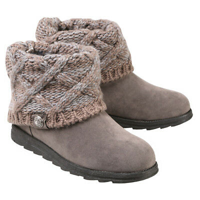 Muk Luks Women's Patti Cable Knit Cuff Booties - Ankle Boots with Sweater Cuff