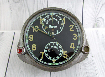 1 GChZ 8 DAYS SOVIET VINTAGE MILITARY AIRCRAFT MIG SU 1939 CLOCK CHRONOGRAPH