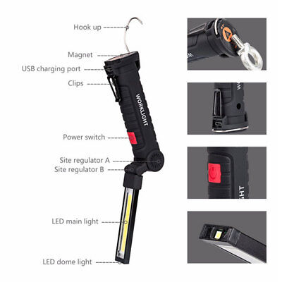 1PCS Rechargeable COB LED Work Light Flood Flashlight Magnetic Torch with Hook