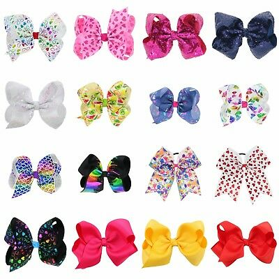 Hair Bows Band Clip Boutique Grosgrain Ribbon For Girl Baby Kids 16 Colors