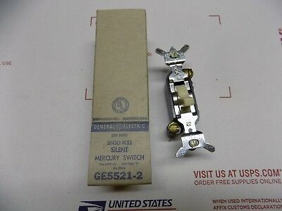 NOS Vintage GE 5521-2 General Electric Single Pole Ivory Mercury Wall Switch