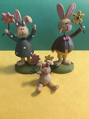 BLOSSOM BUCKET BUNNY BUNDLE! 3 Figurines!  Creative Baby Announcment?