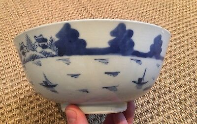 Antique 19th Century Qing Chinese Blue and White Export Porcelain Bowl