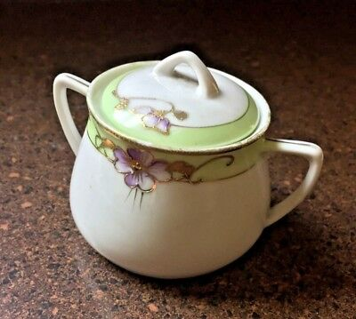 Hand Painted Nippon Vintage Covered Sugar Bowl Green W Purple Flower Gold Trim