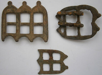 ANTIQUE 3 pcs BUCKLE Bronze MEDIEVAL Period MIDDLE Ages OLD Europe