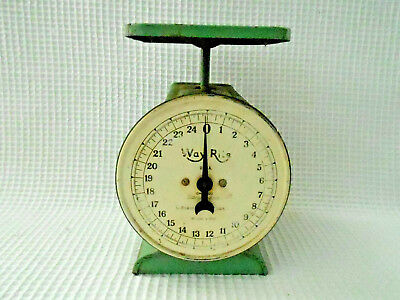 VINTAGE WAY RITE USA 25lb HOUSEHOLD KITCHEN SCALE W/ORIGINAL GREEN PAINT USED
