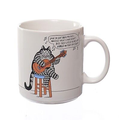 VTG B Kliban Ceramic Mug Love to Eat Them Mousies Guitar Playing Cat 1989 Color