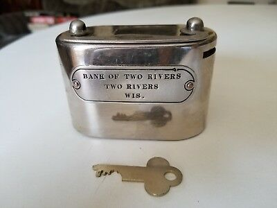 VTG METAL SAVING PIGGY BANK OF TWO RIVERS WI with Key ADV. W.F. BURNS CO CHICAGO