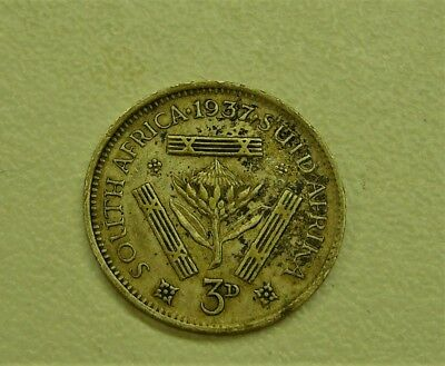 1937 South Africa Threepence Silver Coin