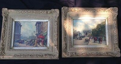 A. Michel Signed Pair Of Early 20th Century French Paris Scenes Paintings