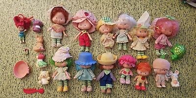 Strawberry Shortcake Vintage Lot of 13 Dolls and 6 Animals Pets Kenner