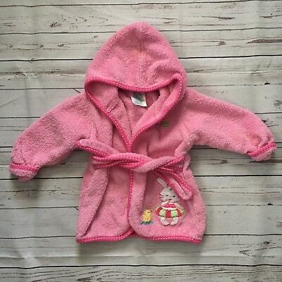 Okie Dokie Baby Girls 0-9 Months Bath Robe Hooded Pink Bunny