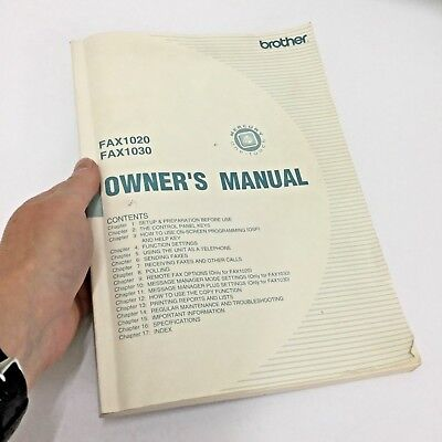 Brother FAX 1020 / 1030 Owner's Manual Guidebook Original VGC All Pages Present