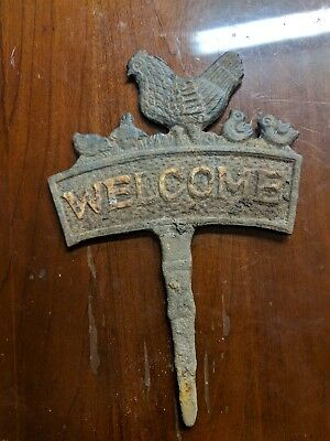 Vintage Cast Iron Welcome Sign Garden Chickens Farm
