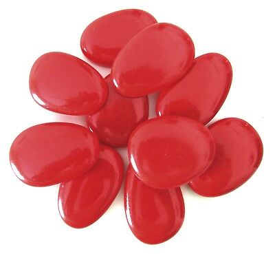 10 x Large Opaque Cherry Red Mosaic Lead Light Art Glass Craft Feature Stones