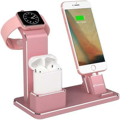 Power Station Dock Charging Stand for Apple Watch AirPod iPhone Holder Rose Gold