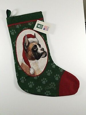 Woven Christmas Stocking Boxer Dog By Manual Woodworkers & Weavers Picken New