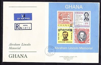 Ghana 1965 Abe Lincoln MS  REGISTERED R1273 Accra First Day Cover Addressed