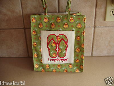 Longaberger Small Flip Flop Sunflower Paisley Green Tote Bag Nip * Free Shipping